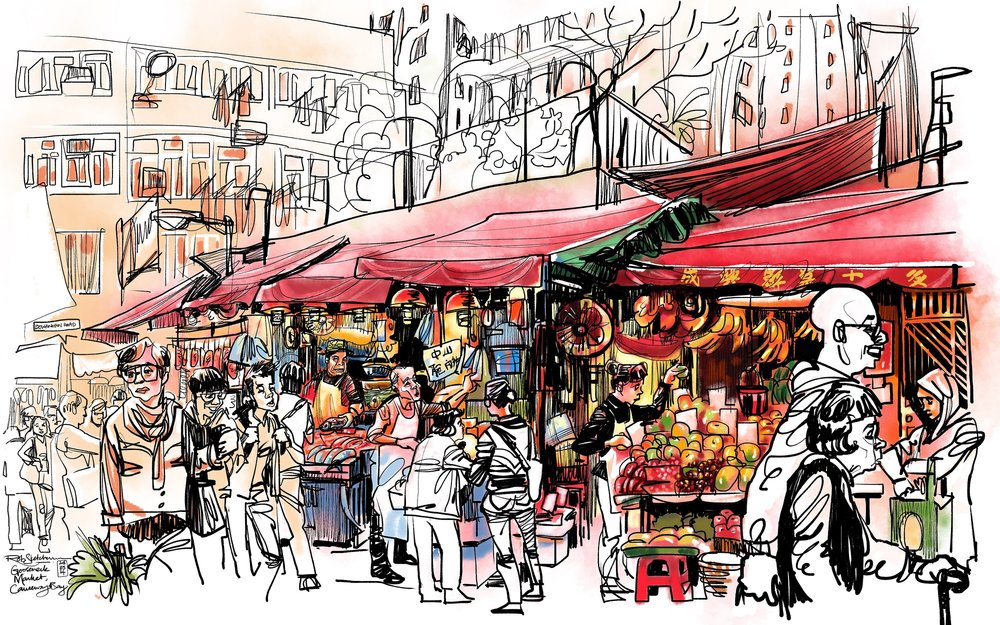 This is an early piece I did at a market in Causeway Bay in 2014, which helped people realize that iPads are actually a viable creative tool. The iPad Pro + Apple Pencil + Procreate combination now turns what was pretty incredible into an amazing, liberating creative toolkit.