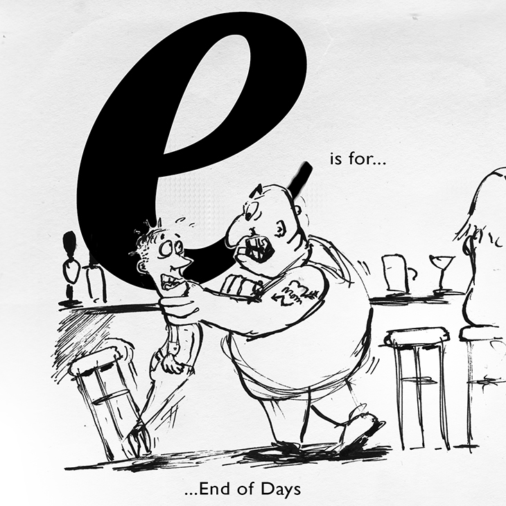 E is for alcohol free bar promotion sketch jonny glover illustration