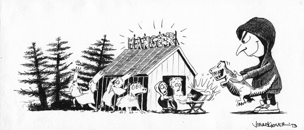 This is one of my other initial thumbnails drawn up as a card for my folks.