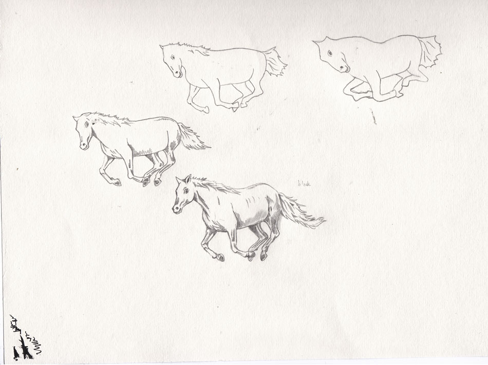 The horses legs needed to tuck up into its body as it moves up the tessellation towards the cow.