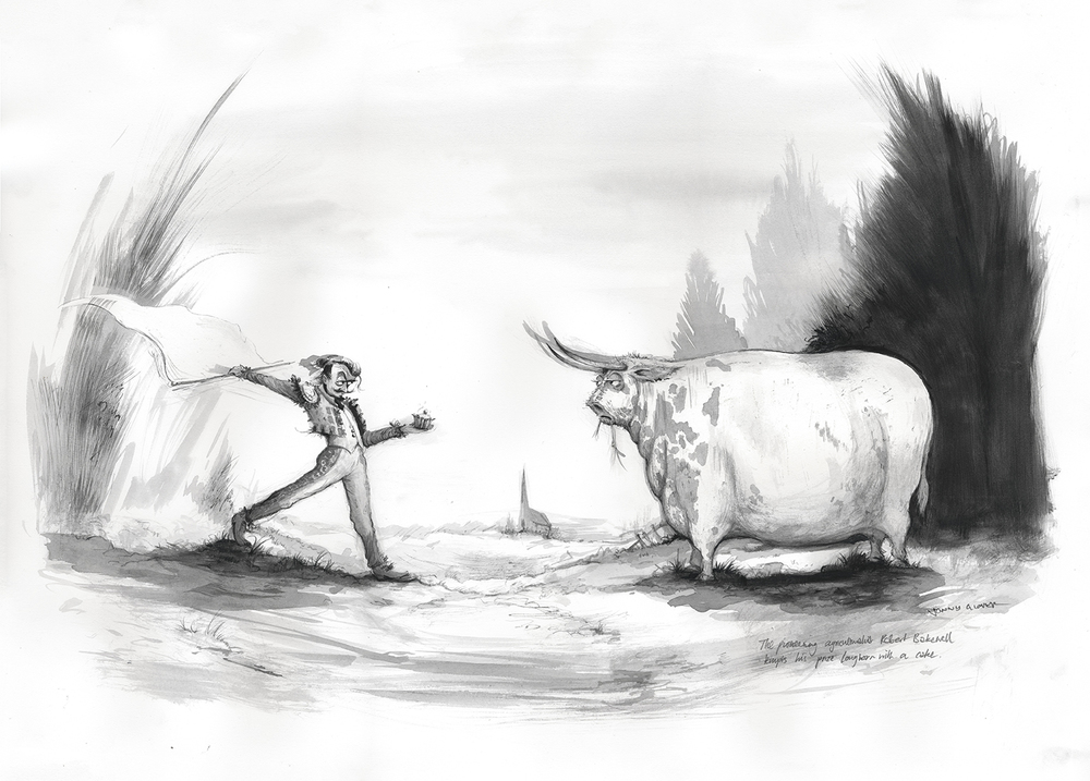 The pioneering agriculturalist Robert Bakewell tempts his prize Longhorn with a cake.