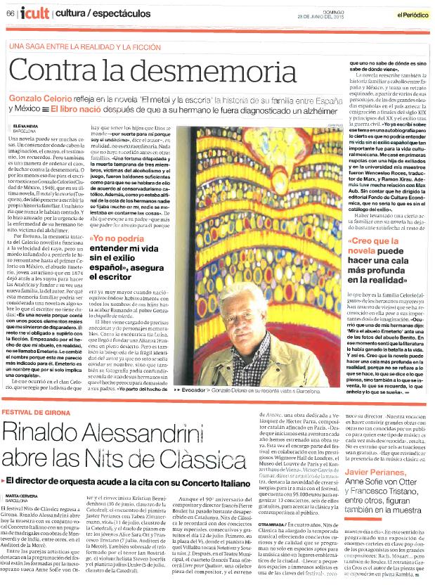 La obra de Ignasi Miralbell Riera - El Liceu Barcelona en el periódico, como fondo del retrato del escritor Gonzalo Celorio