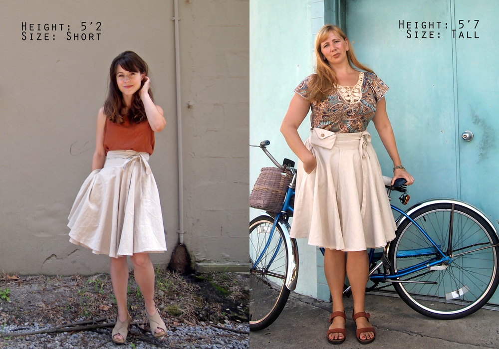 Skirt length and height comparison.