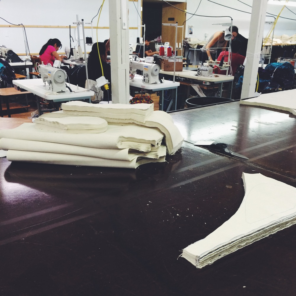 Our cut fabric pieces are ready to be stitched together.