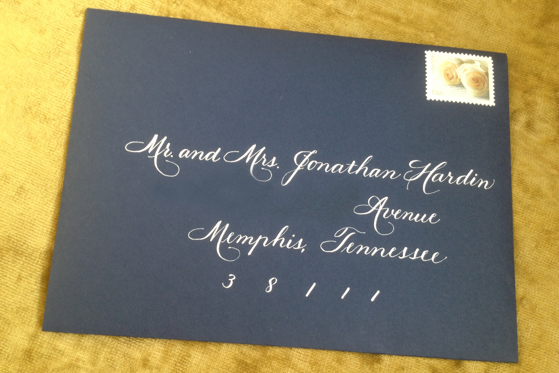 Navy and White Monogram and Chevron Wedding Suite