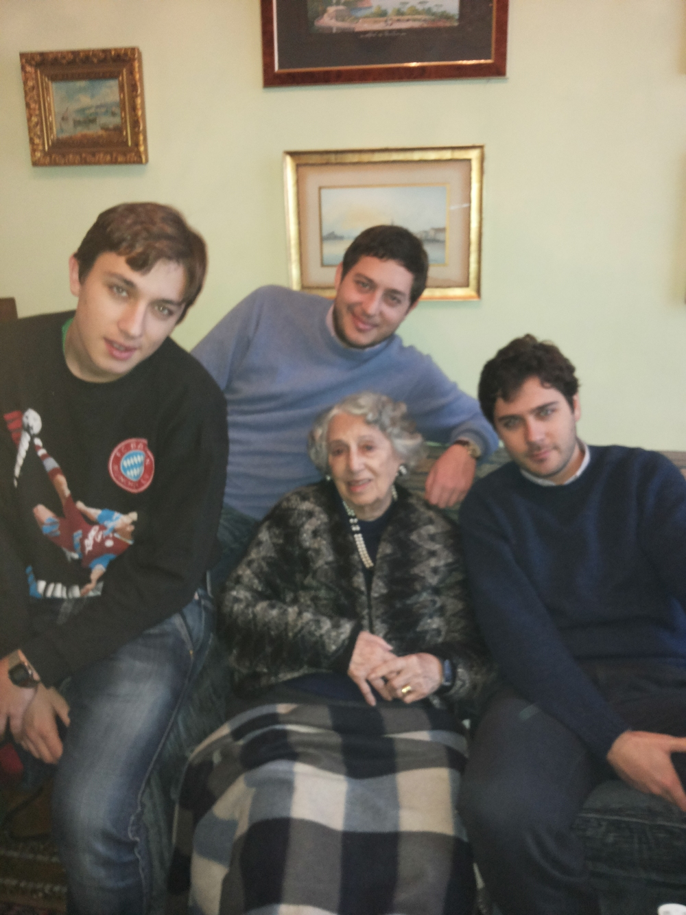 My nonna celebrating her 91st birthday with her three grandsons.