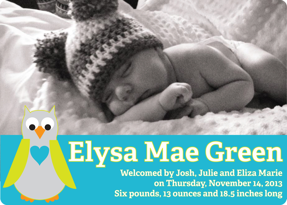 Eliza birth announcement (front)