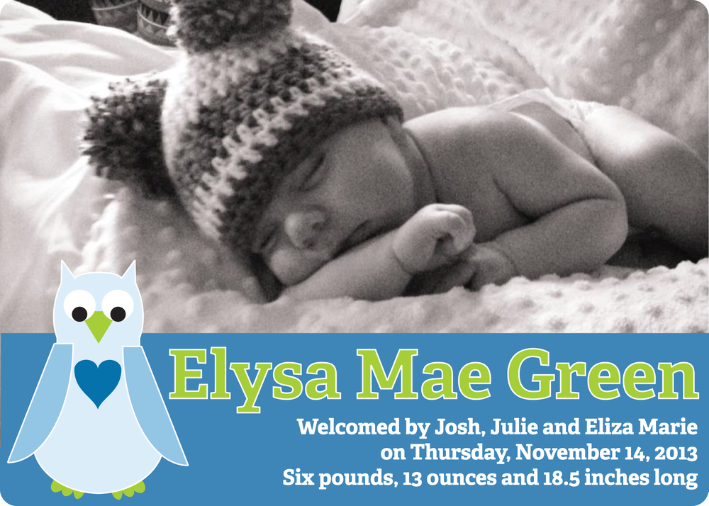 Eliza birth announcement in blue and green (front)