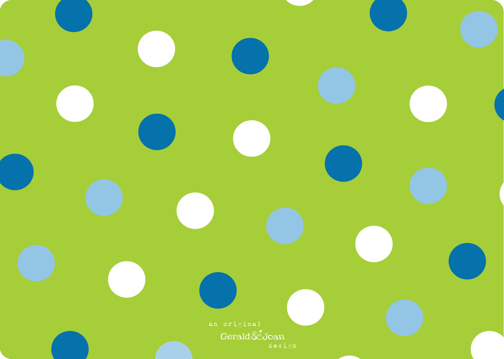 Eliza birth announcement in blue and green with polka dots (back)