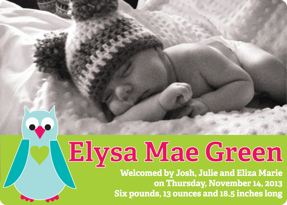 Eliza birth announcement in pink, blue and green with polka dots (front)