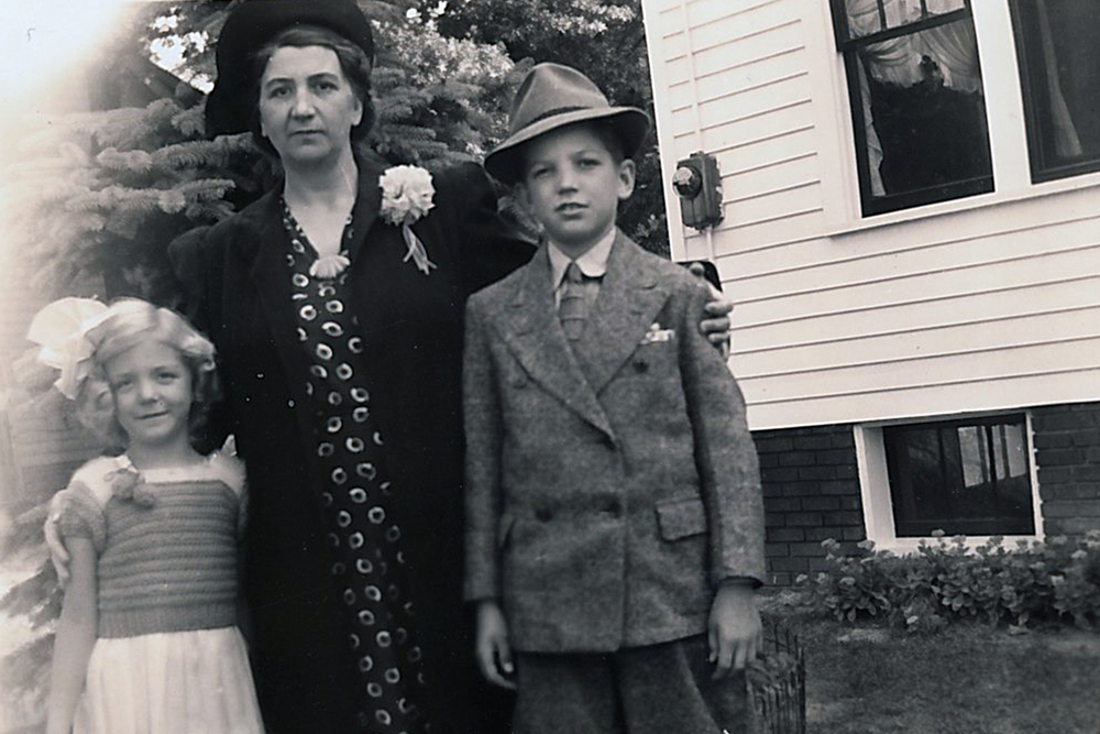 Elsie Stroup with her children Joan and Bob.