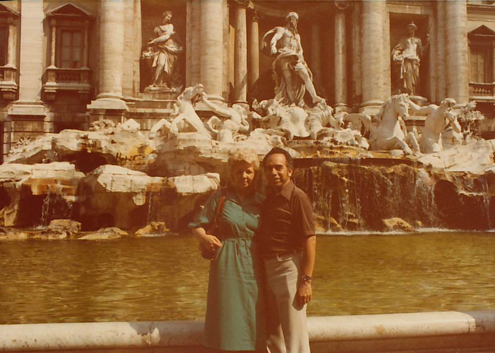 My grandparents Joan and Sid in front of the Trevi Fountain in Rome, Italy.