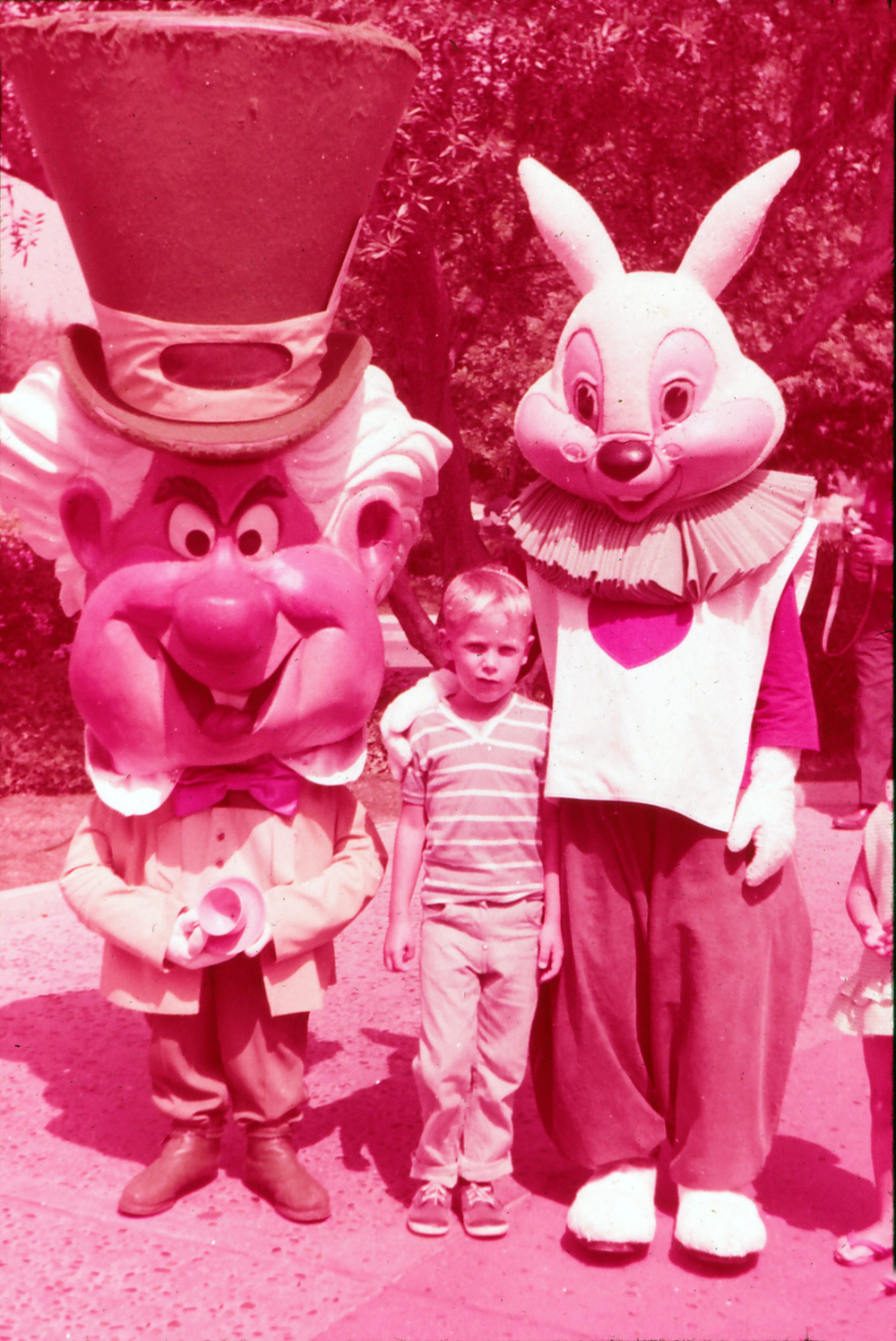 The Mad Hatter and the White Rabbit at the World's Fair, 1964.