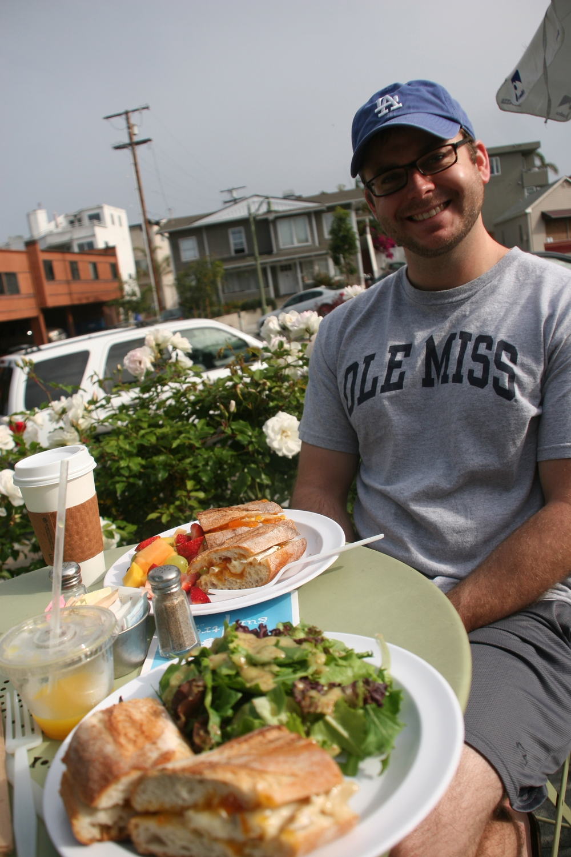 Enjoying a birthday breakfast in Hermosa Beach, California, July 7, 2011.