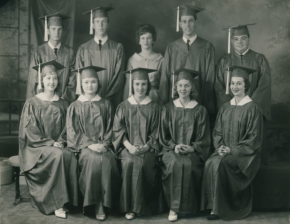 The Jumpertown High School Class of 1961. Linda is on the bottom row on the far right.