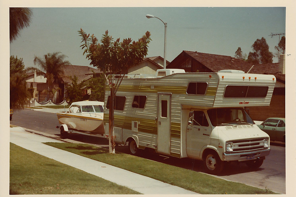 Joan and Sid's motorhome and boat parked in front of their home in Cerritos, California in 1977.