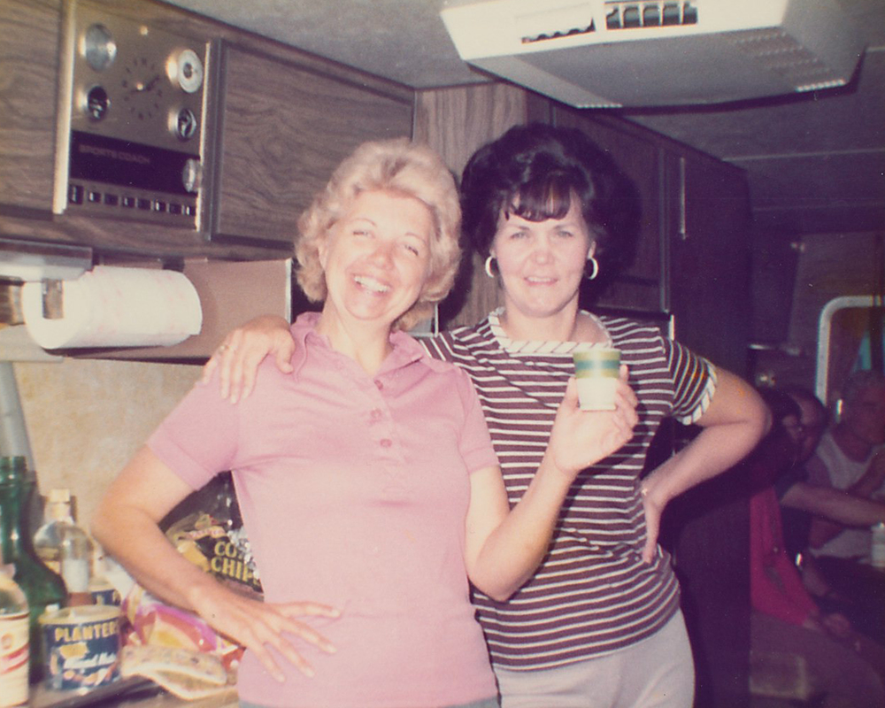 A toast to good friends inside the motorhome.