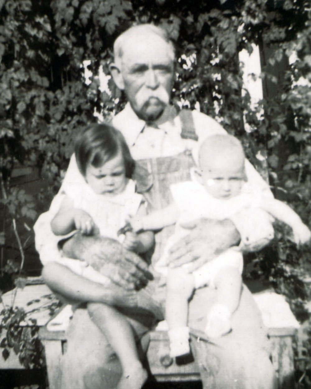Gerald Dayton (right) with his Grandfather Cooper and cousin.