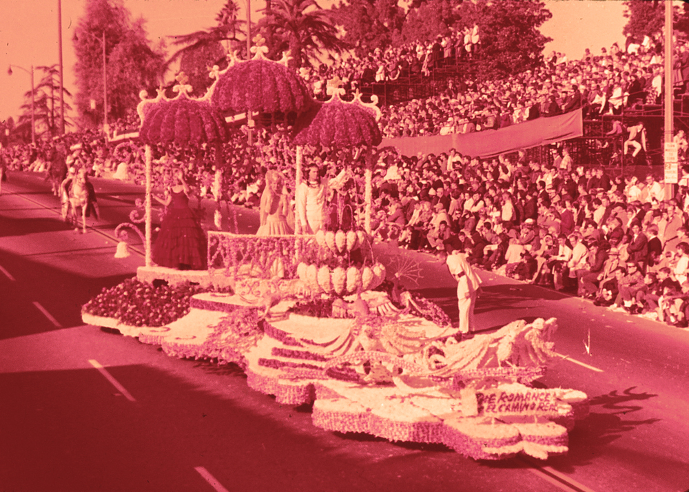 The Romance of El Camino Real float in the 1965 Tournament of Roses Parade in Pasadena, California.