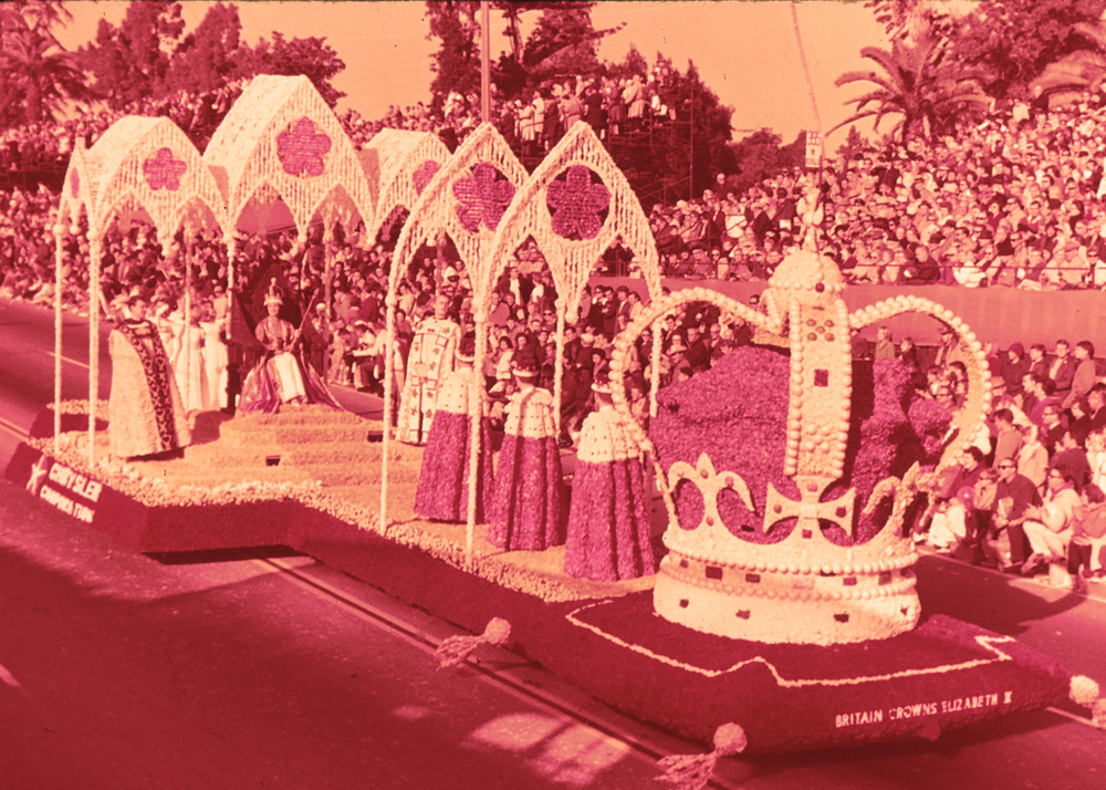 "Chrysler Corporation's ""Queen Elizabeth II"" float in the 1965 Tournament of Roses Parade in Pasadena, California."