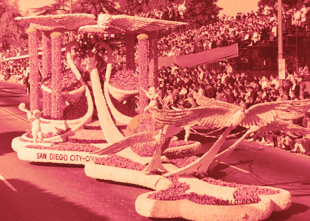 The San Diego City-County Float in the 1965 Tournament of Roses Parade in Pasadena, California.