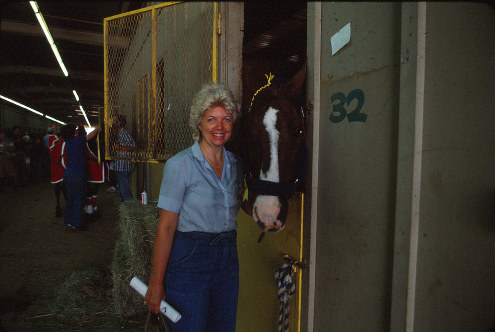 Joan and a horse in the late 1970s. She loved all types of animals.