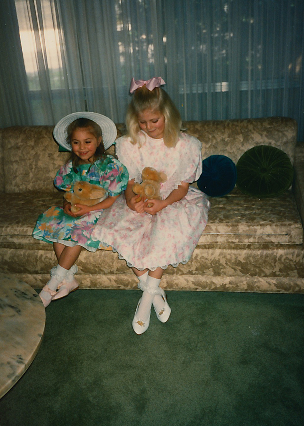 Easter dresses from the neighborhood kids shop. I loved those horrible white shoes because they didn't have straps. That bunny has already made itself at home in our baby's nursery.