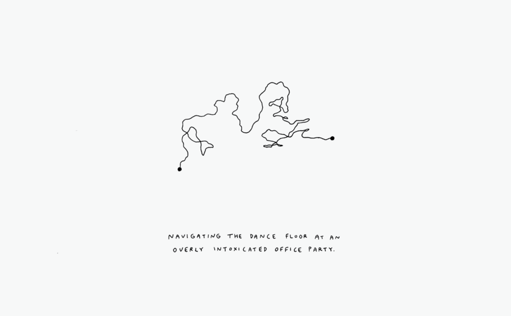Trajectory Autobiographical line maps inspired by GPS recordings.