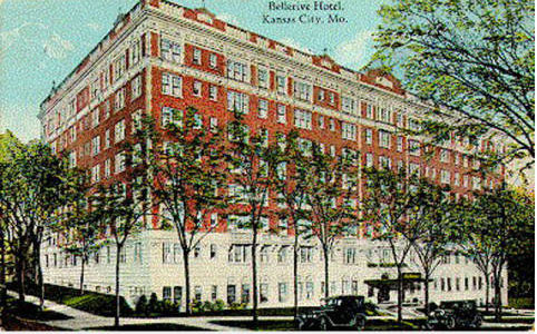 Historic postcard of Midtown's Bellerive Hotel, the kind of thing you can find at the National Archives.