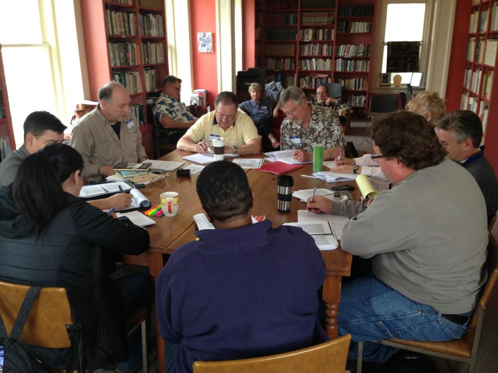 Frank Higgins leads a playwriting session in our library