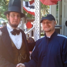 Lincoln re-enactor poses with Kurt Kennedy.
