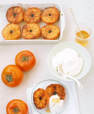 Broiled Persimmons with Mascarpone Ripe persimmons become candy-sweet and custardy when broiled. The fruit is drizzled with a simple topping of honey and lime juice, and served with vanilla-perfumed mascarpone cheese.