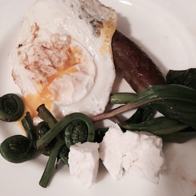 Farmers market breakfast Ingredients: Beef, Feta Cheese, Ramps, Fiddlehead Ferns, Egg By MargaretG