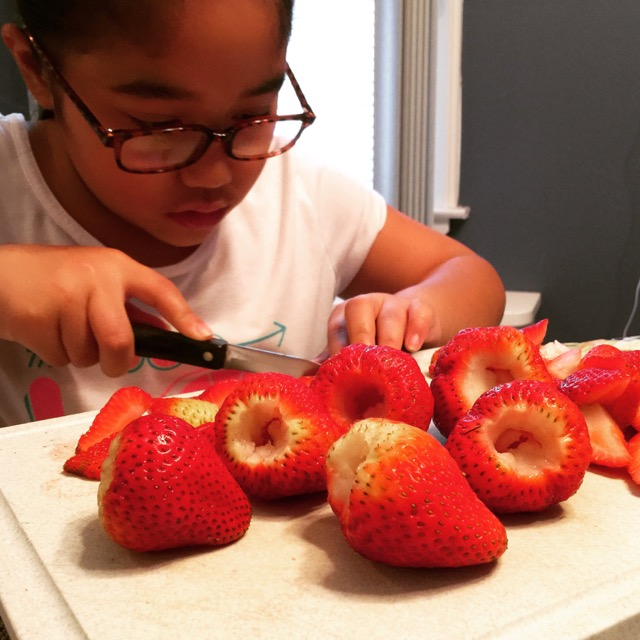 serveMEnow Woke up early to pick up strawberries from our farmer's market. She has to start somewhere. Perfect cored and quartered strawberries for breakfast!! #FoodRevolutionDay #foodpeeps