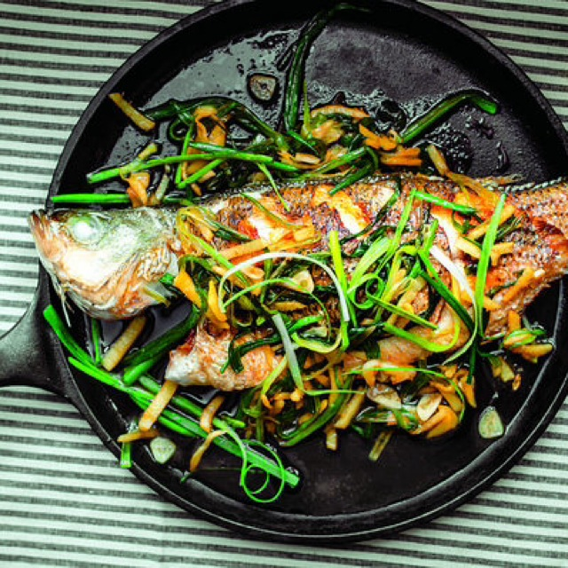 Yes, you can try this with ramps too! Pan-fried whole fish with ginger and scallions from #thefoodoftaiwan.