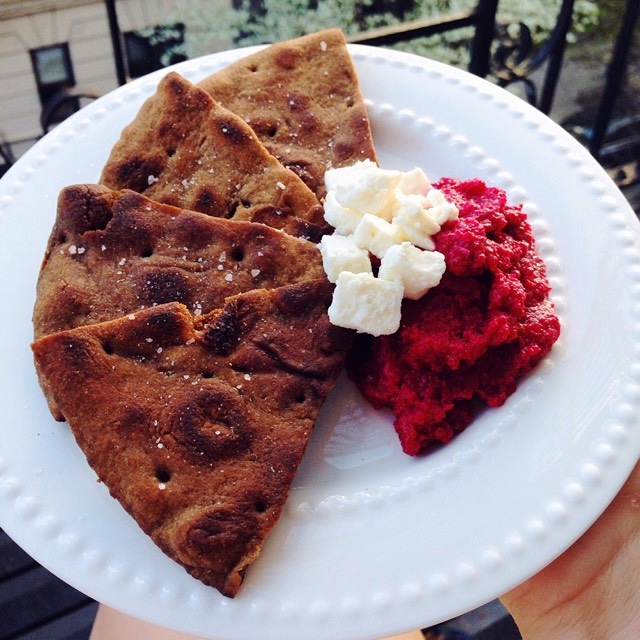 Homemade by nhoesterey17  Homemade beet hummus and whole wheat pita chips. A little pre-dinner snack (...so an appetizer?)