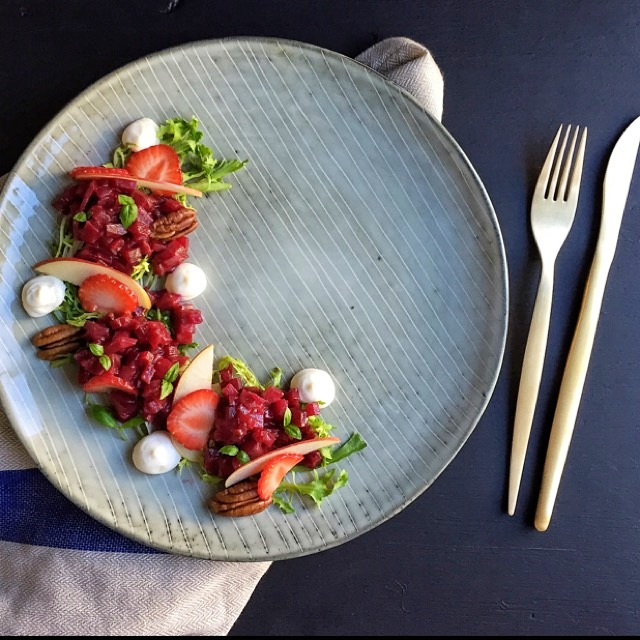 Mokalocks Beet tartare with whipped goat cheese & a roasted strawberry vinaigrette. Recipe coming soon!