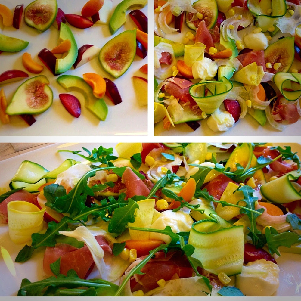 The building of some Long Meadow Ranch summertime realness. Ingredients: Apricot, Arugula, Avocado, Fennel Bulb, Fig, Summer Squash (Zucchini), Sweet Yellow Corn, Prosciutto, Extra virgin olive oil, Thai Basil Location: Farmstead at Long Meadow Ranch Posted by: KatCooksLMR30