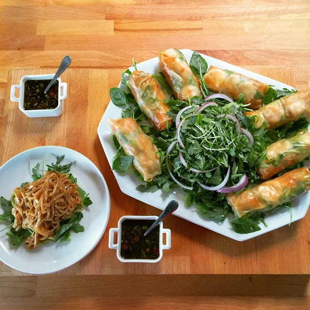 Vegetable & Poached Shrimp Fresh Spring Rolls w/ Soy Ginger Dipping Sauce #MothersDayLunch #PersonalChefService Ingredients: Arugula, Carrot, Cucumber, Fresh Basil, Ginger Root, Sesame oil, Mint, Red onion, Snow peas, Scallion, Rice Wine Vinegar, Garlic Cloves, Brown Rice Noodles Posted by: serveMEnow