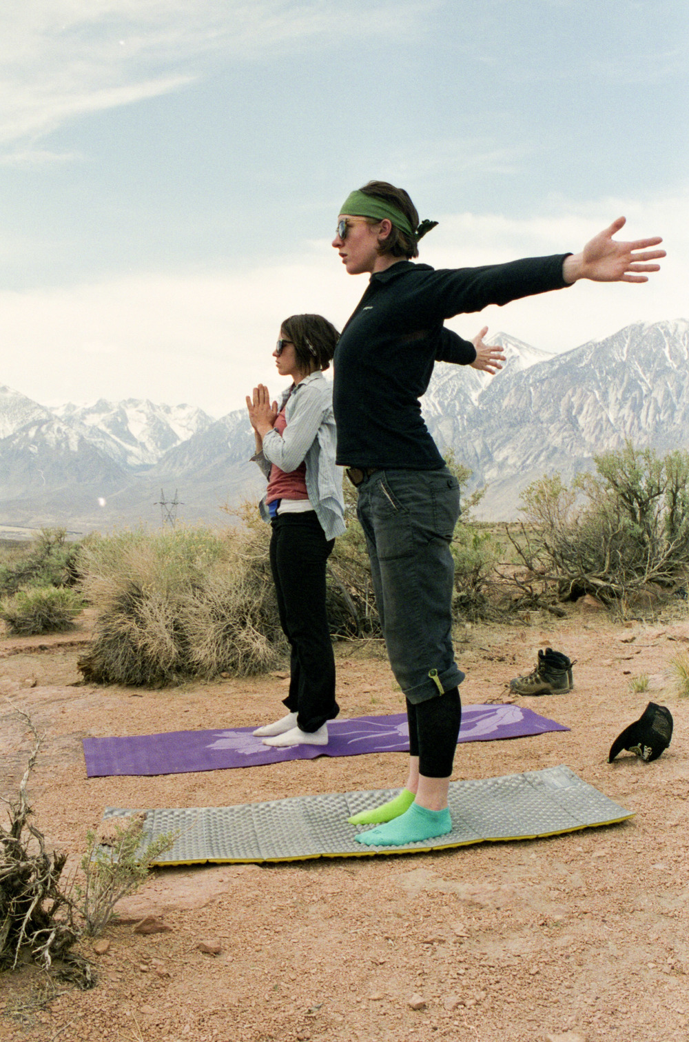 Leanne and Danielle, lovely yogis high above the Owen's River Gorge.