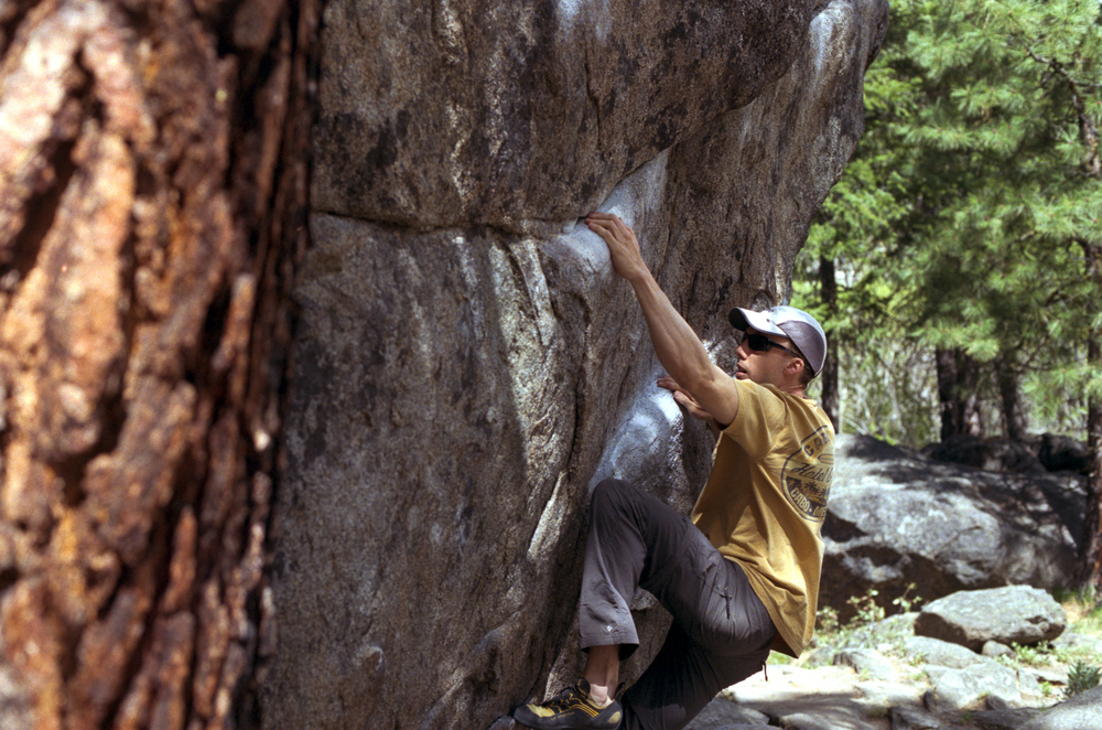 Chris, getting ready to Feel the Pinch, V4 at Leavenworth
