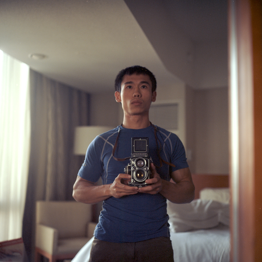 First photo to test out my new Rolleiflex.  A self portrait through a mirror in my hotel room when I was in Los Angeles.
