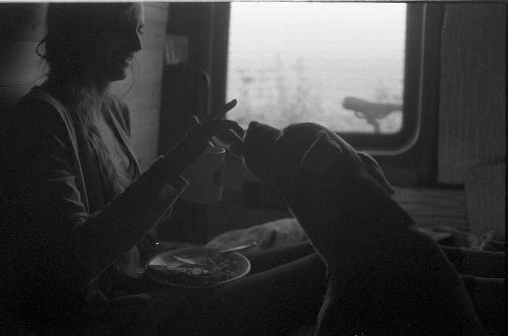 Coffee time in the van! Our dog is addicted. My favorite creatures in our daily ritual in the van.