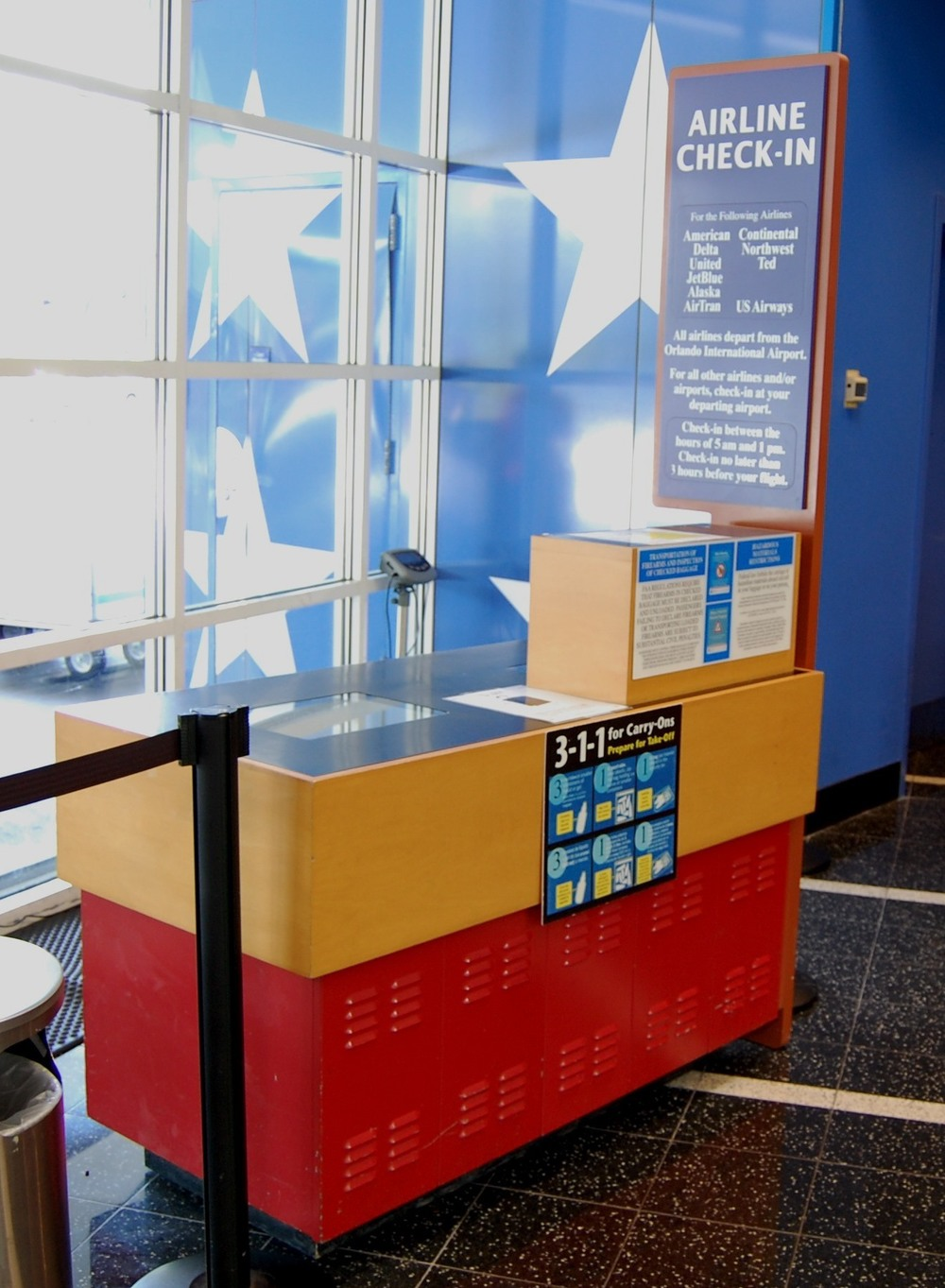 Airline check-in desk at the Disney World hotels