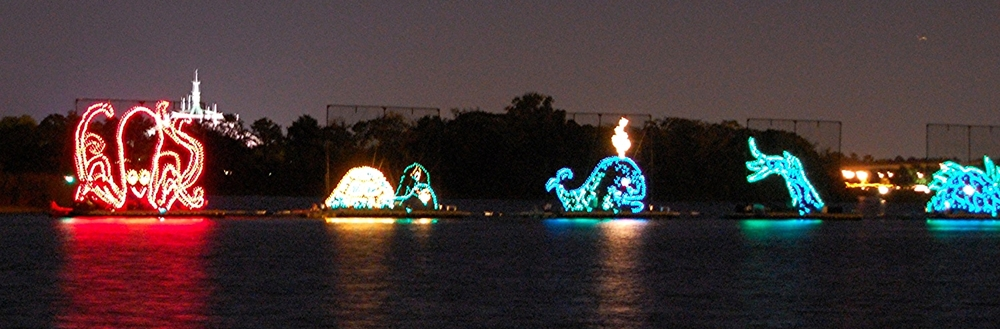 Sea Animal floats in the Electric Water Pageant at Disney World