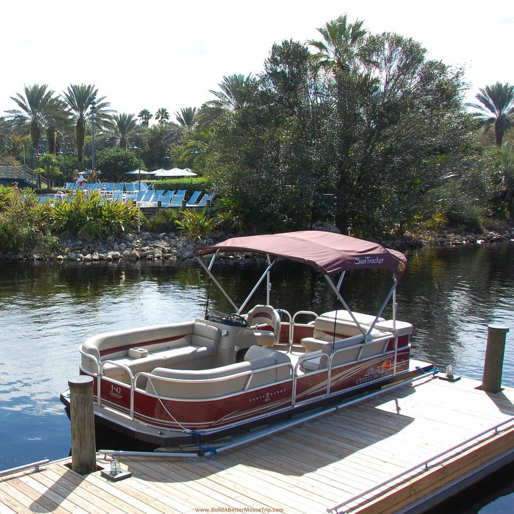 Pontoon boat rentals at the Walt Disney World Resort in Florida.