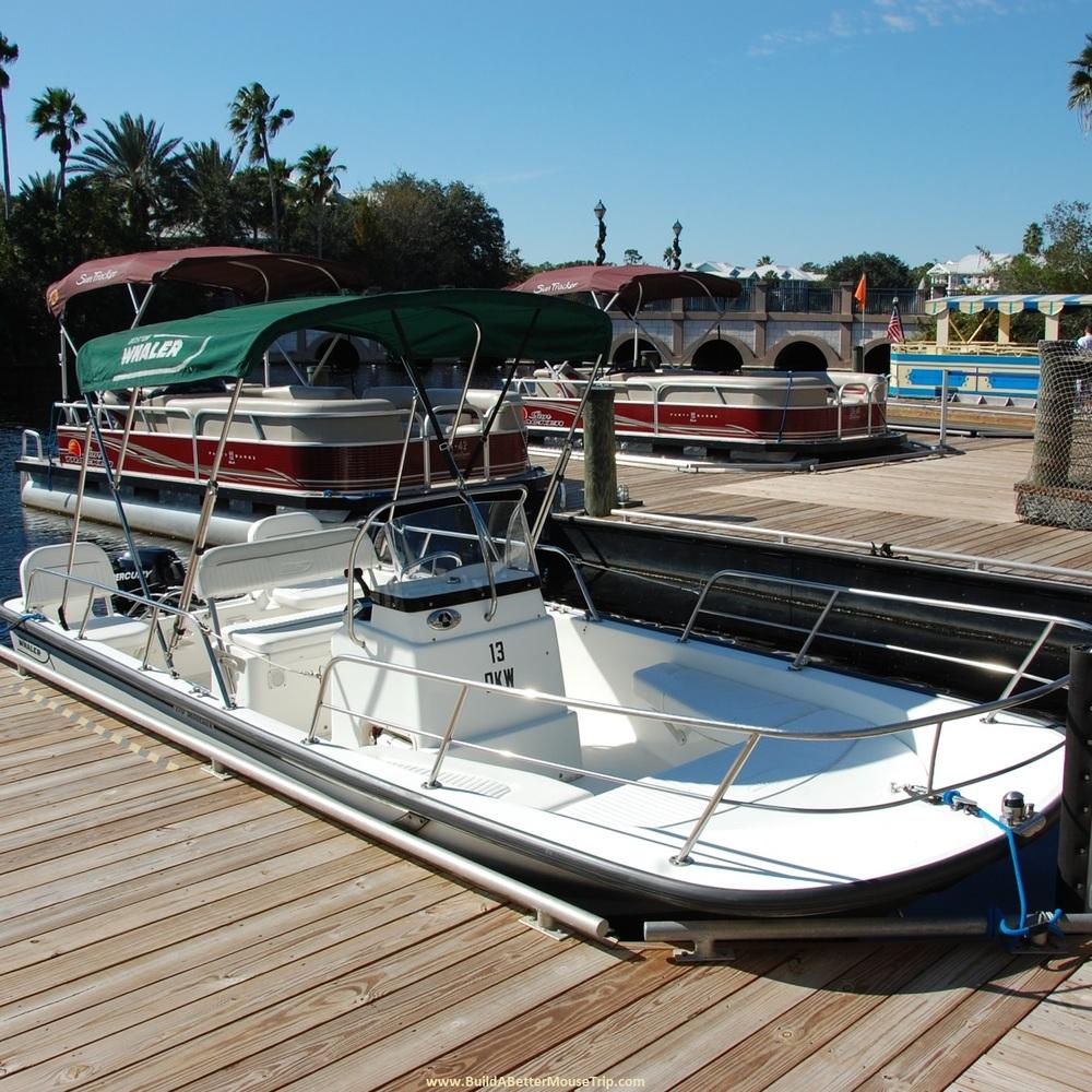Sun Tracker boat rentals at Disney World.