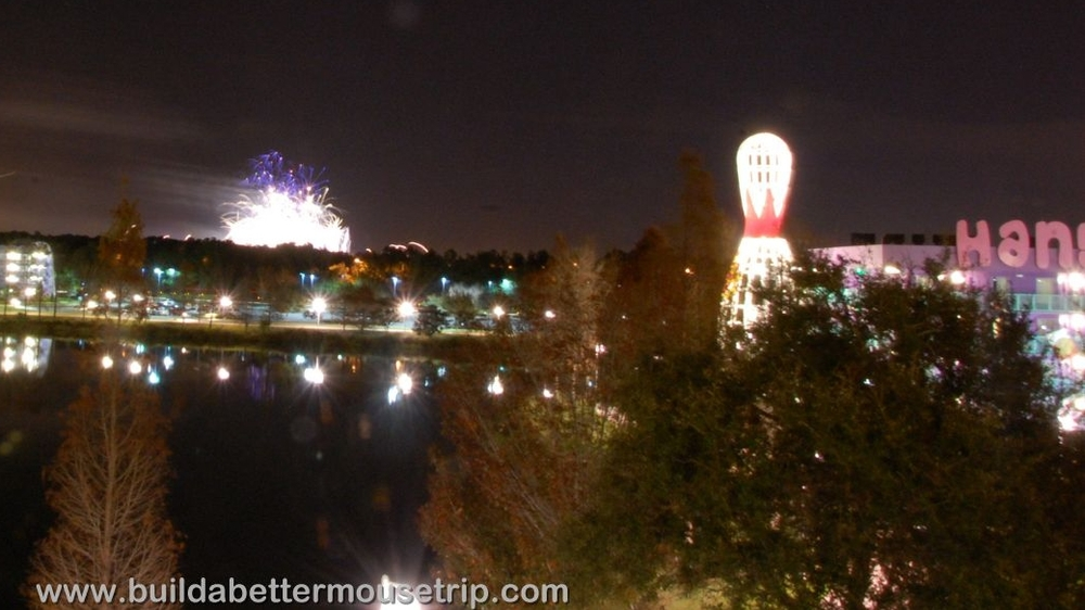 Epcot Fireworks as seen at Disney's Pop Century Resort.