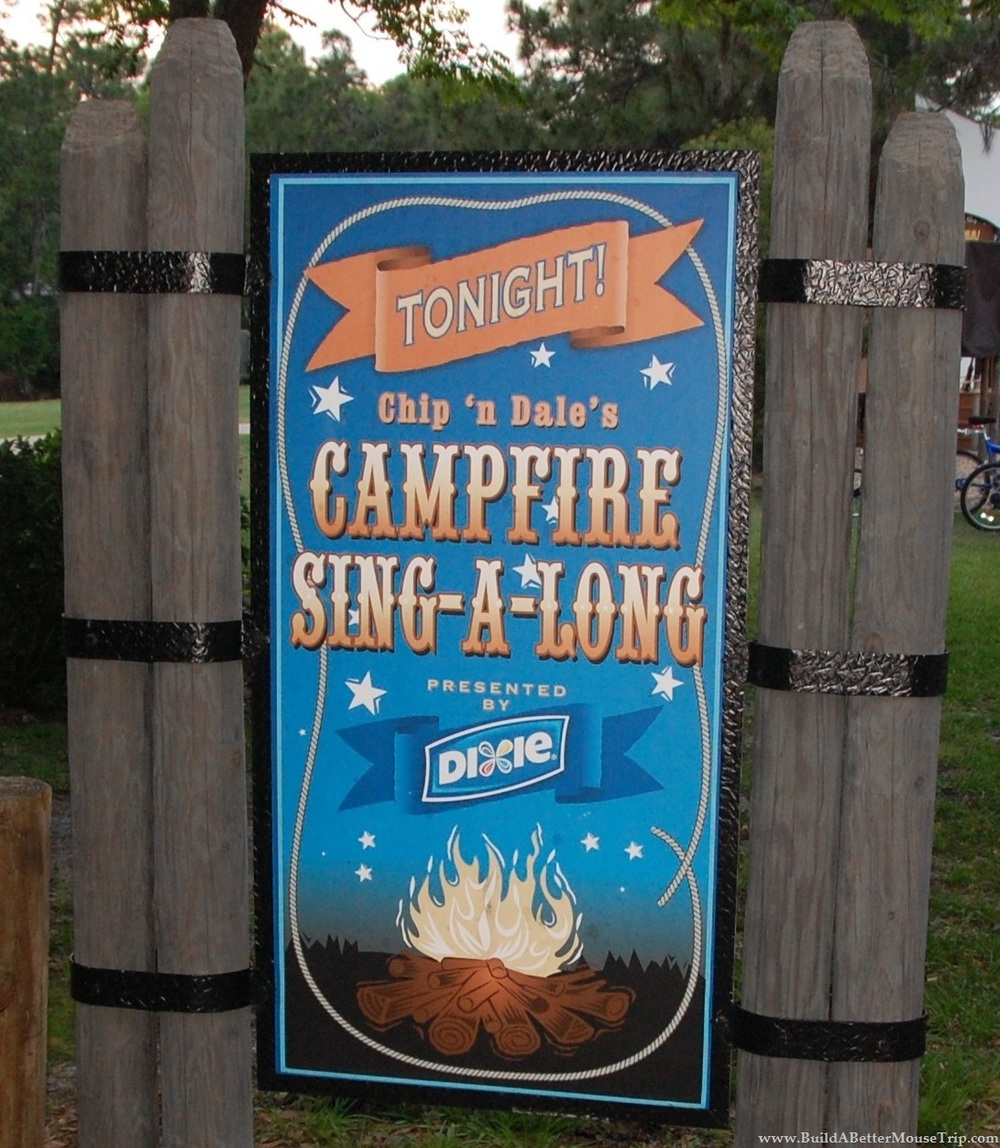 All About Chip ' n Dale's Campfire Sing-A-Long (Free Activity) at the Fort Wilderness Campground at Disney World.