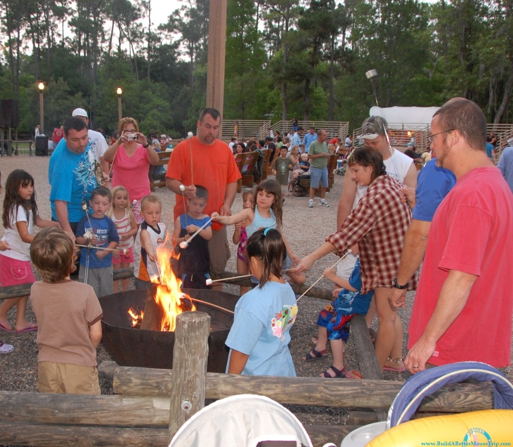 Campfire and marshmallow roast at the Disney World campground